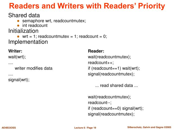 Readers and Writers with Readers' Priority