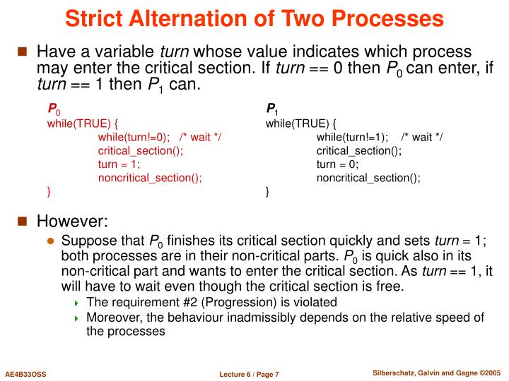Strict Alternation of Two Processes