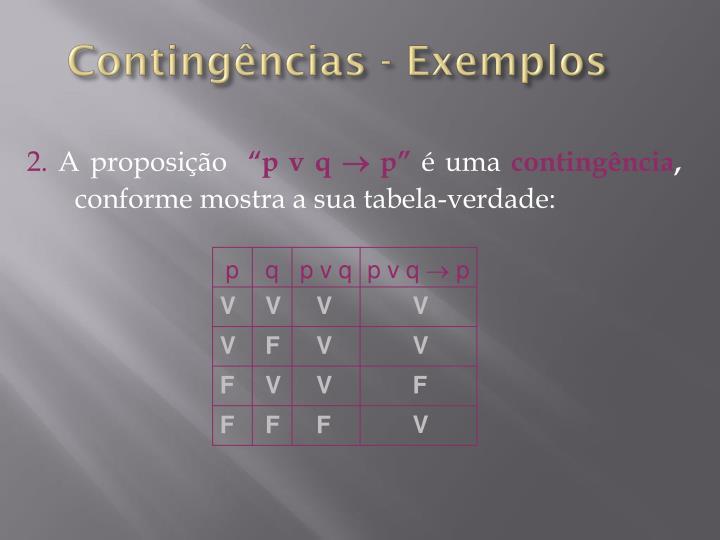 Contingências - Exemplos