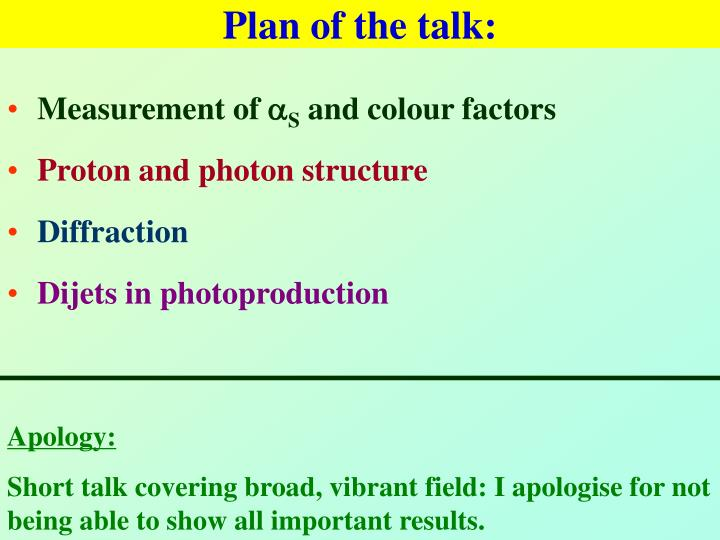 Plan of the talk: