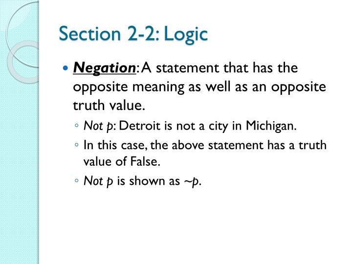 Section 2-2: Logic
