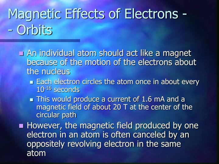 Magnetic Effects of Electrons -- Orbits