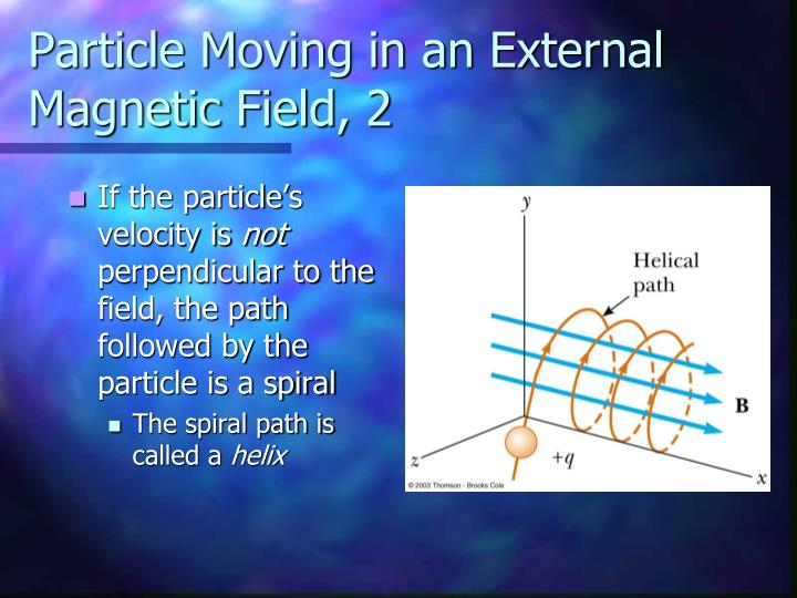 Particle Moving in an External Magnetic Field, 2