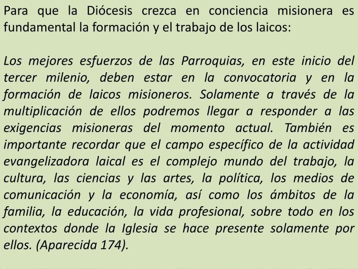 Para que la Diócesis crezca en conciencia misionera es fundamental la formación y el trabajo de los laicos