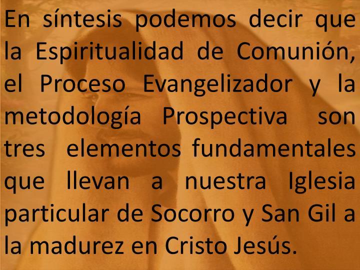 En síntesis podemos decir que la Espiritualidad de Comunión, el  Proceso  Evangelizador  y  la metodología  Prospectiva   son   tres  elementos fundamentales que llevan a nuestra Iglesia particular de Socorro y San Gil a la madurez en Cristo Jesús.