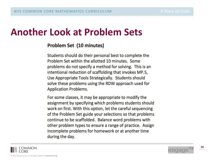 Another Look at Problem Sets