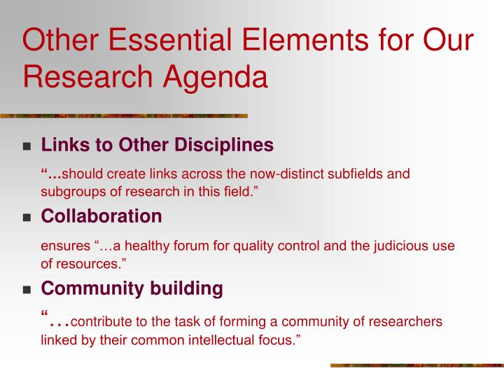 Other Essential Elements for Our Research Agenda