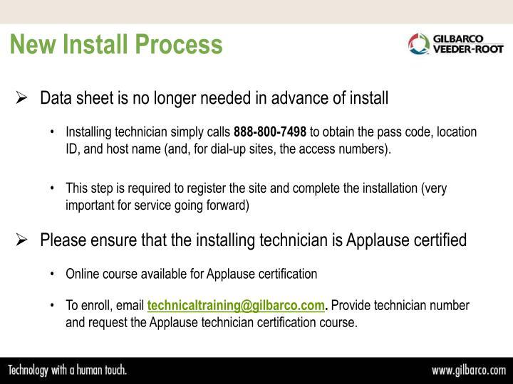 New Install Process