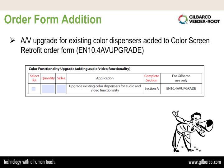Order Form Addition