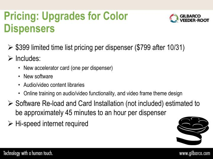 Pricing: Upgrades for Color Dispensers