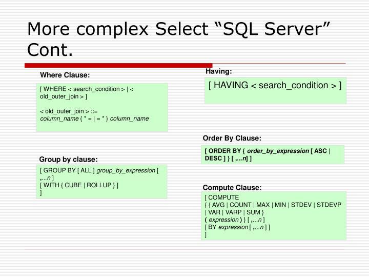 """More complex Select """"SQL Server"""" Cont."""