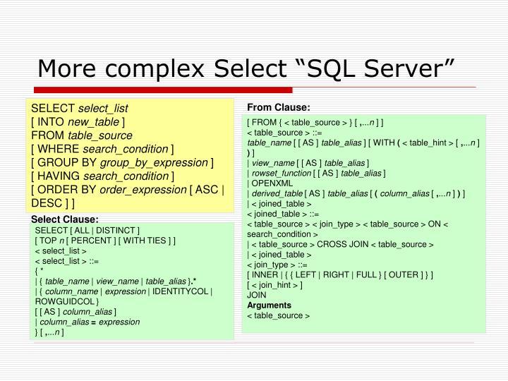 "More complex Select ""SQL Server"""
