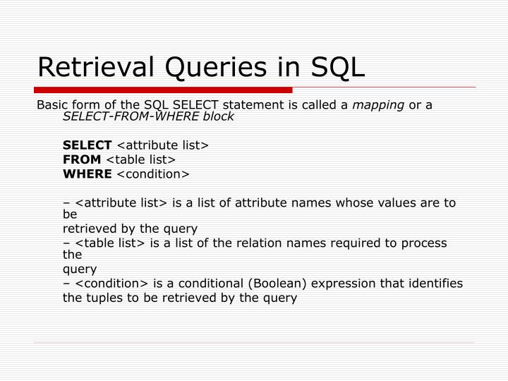 Retrieval Queries in SQL
