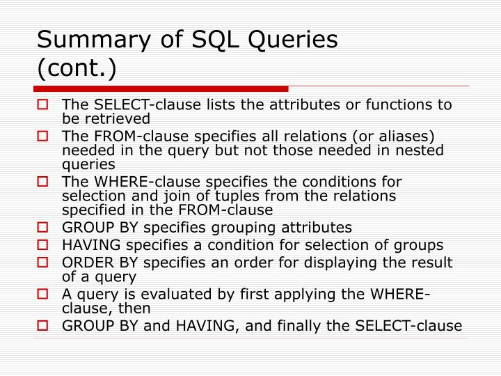 Summary of SQL Queries