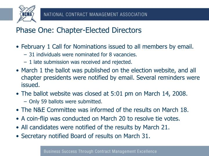 Phase One: Chapter-Elected Directors