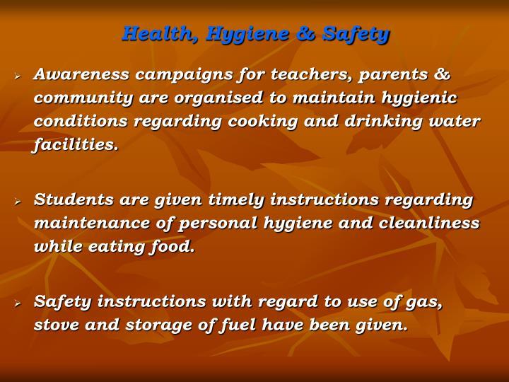 Health, Hygiene & Safety