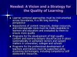 needed a vision and a strategy for the quality of learning