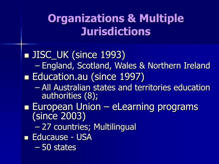 Organizations & Multiple Jurisdictions