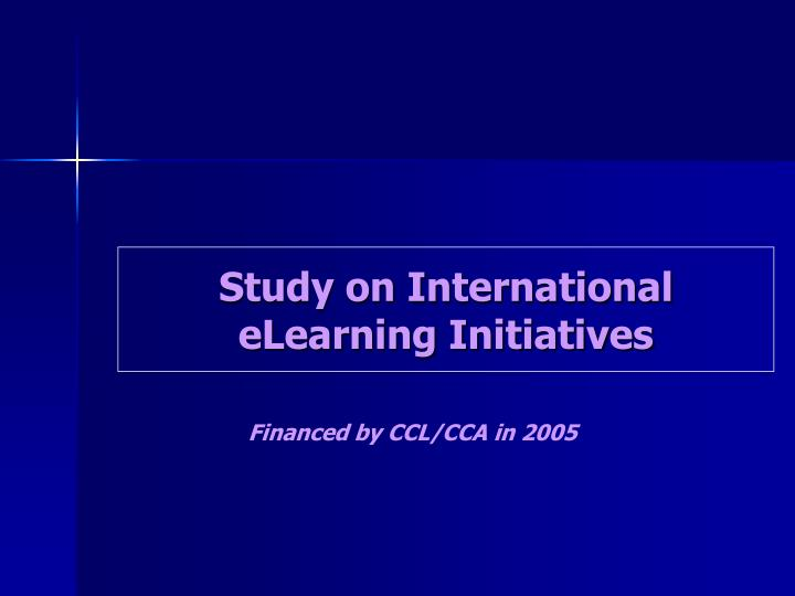 Study on International eLearning Initiatives