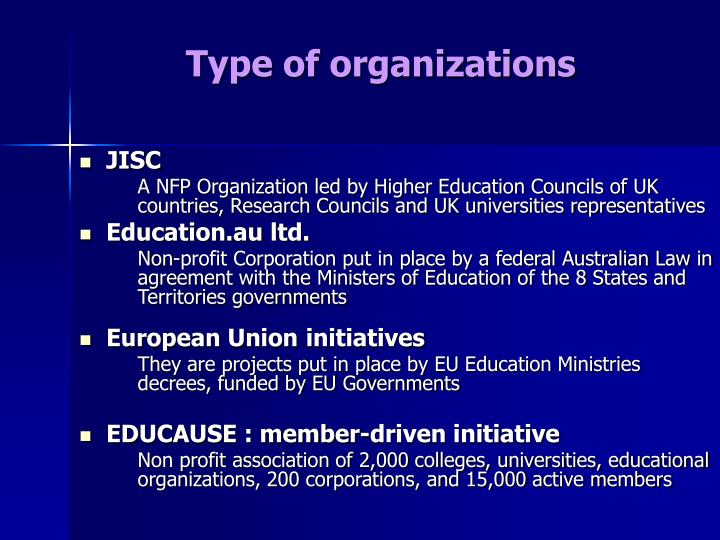 Type of organizations
