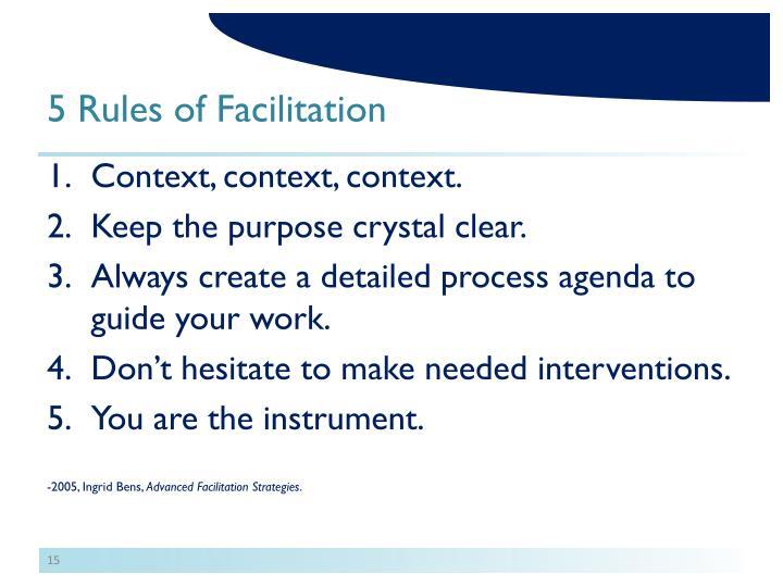 5 Rules of Facilitation