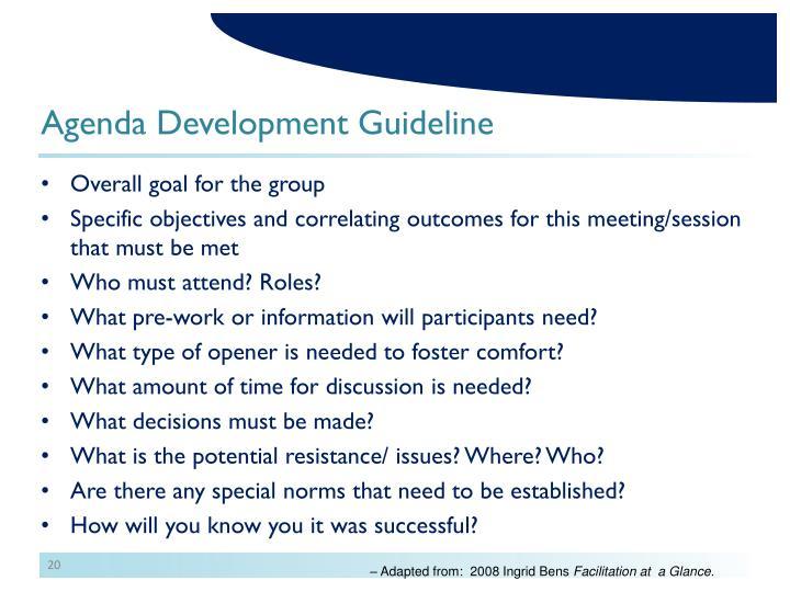 Agenda Development Guideline