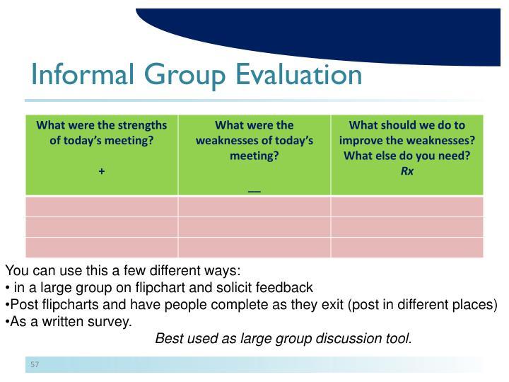 Informal Group Evaluation