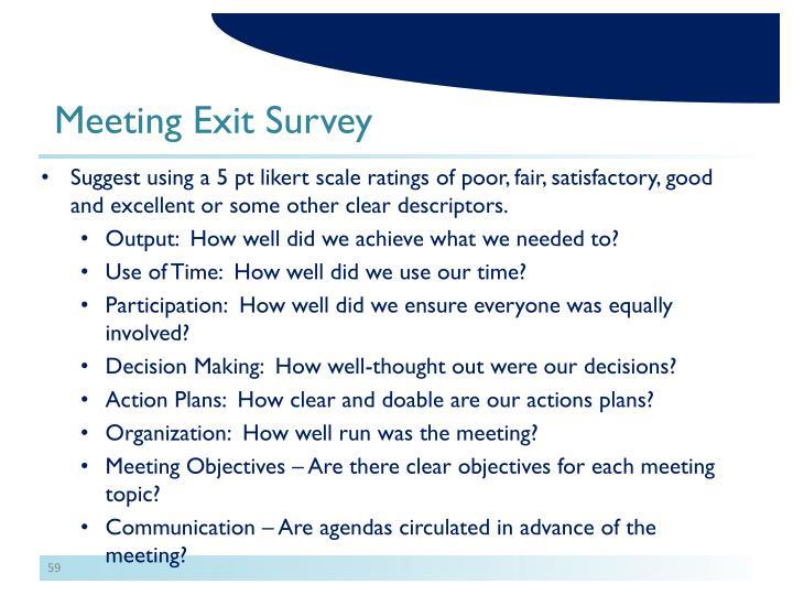 Meeting Exit Survey