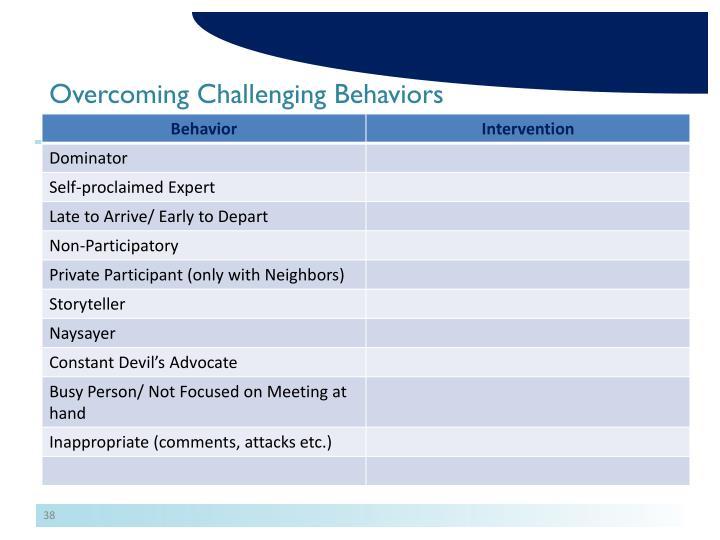Overcoming Challenging Behaviors