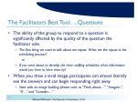 the facilitators best tool questions