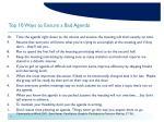 top 10 ways to ensure a bad agenda