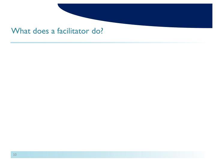 What does a facilitator do?