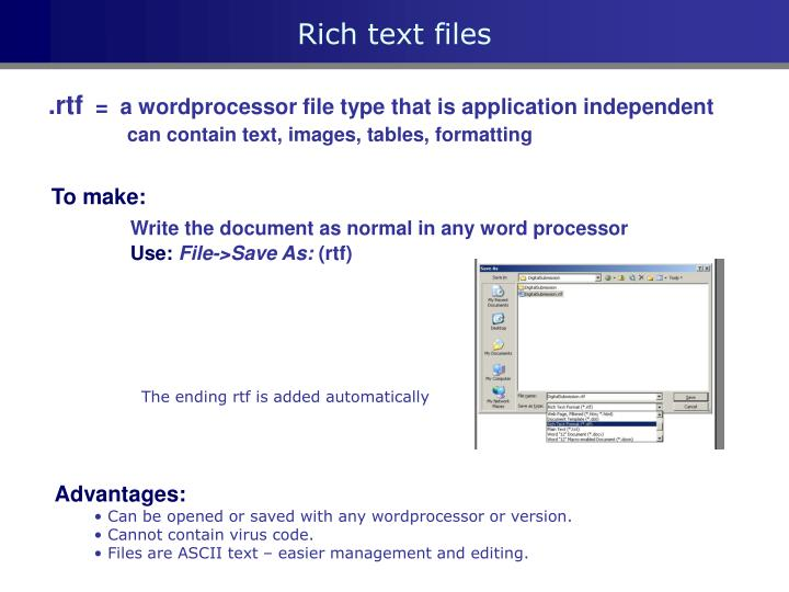 Rich text files