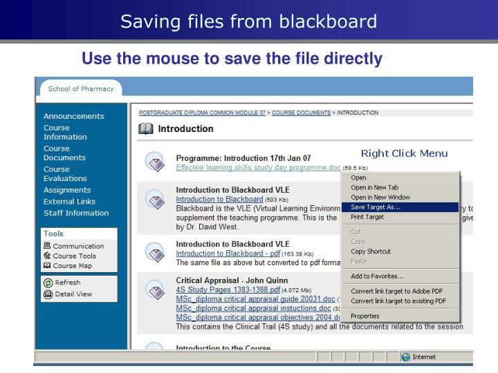 Saving files from blackboard