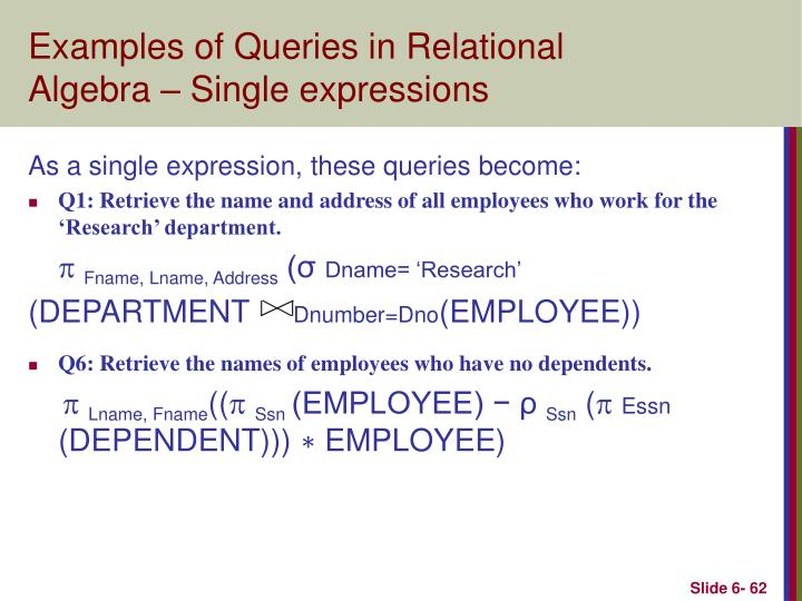 Examples of Queries in Relational Algebra – Single expressions