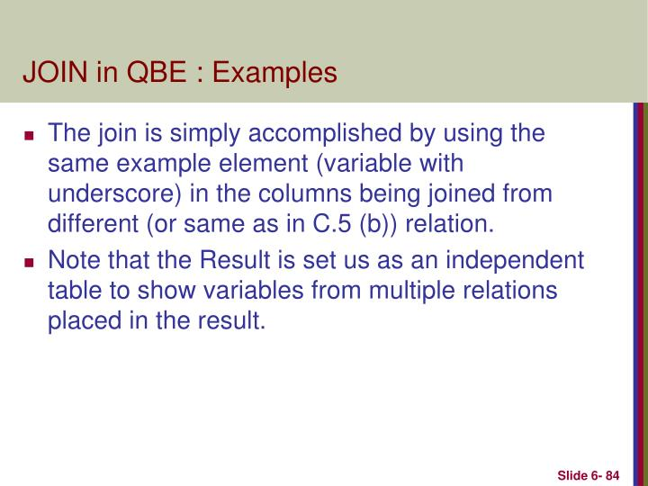JOIN in QBE : Examples