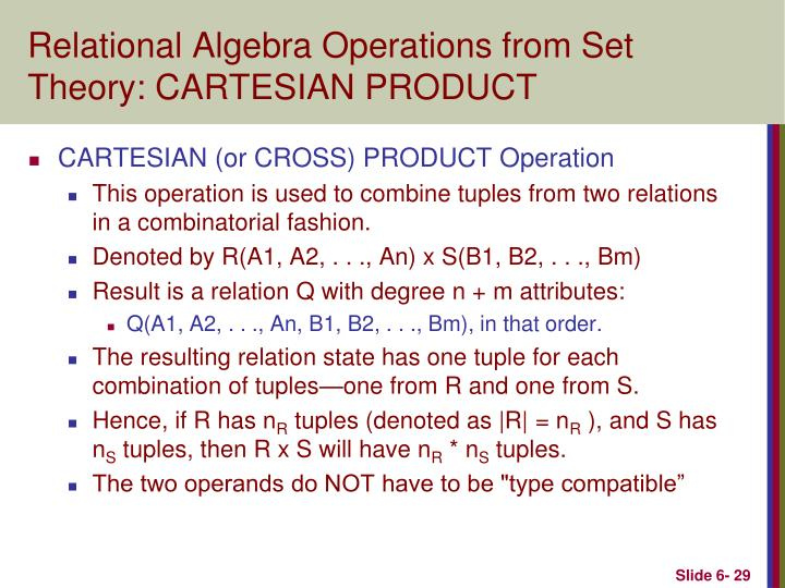 Relational Algebra Operations from Set Theory: CARTESIAN PRODUCT