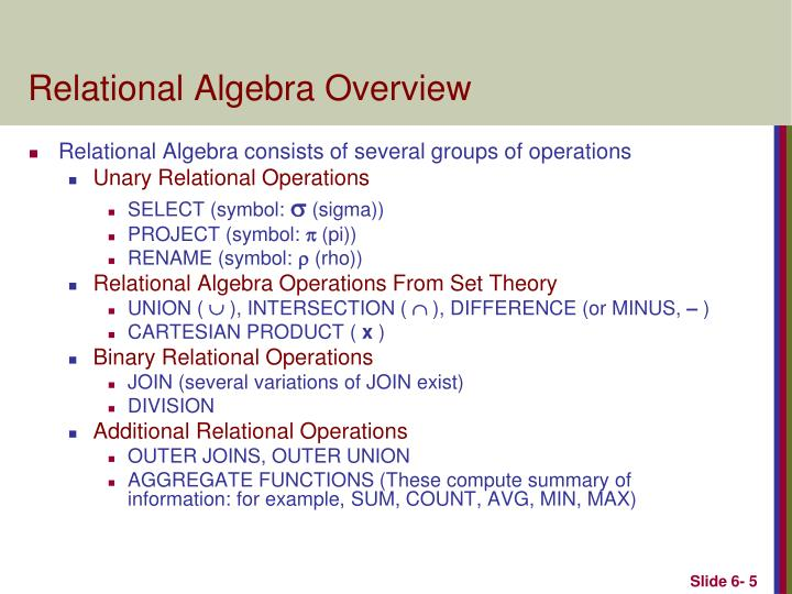 Relational Algebra Overview