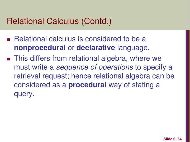 Relational Calculus (Contd.)