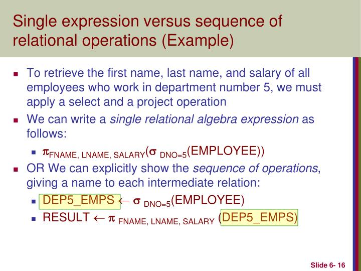 Single expression versus sequence of relational operations (Example)