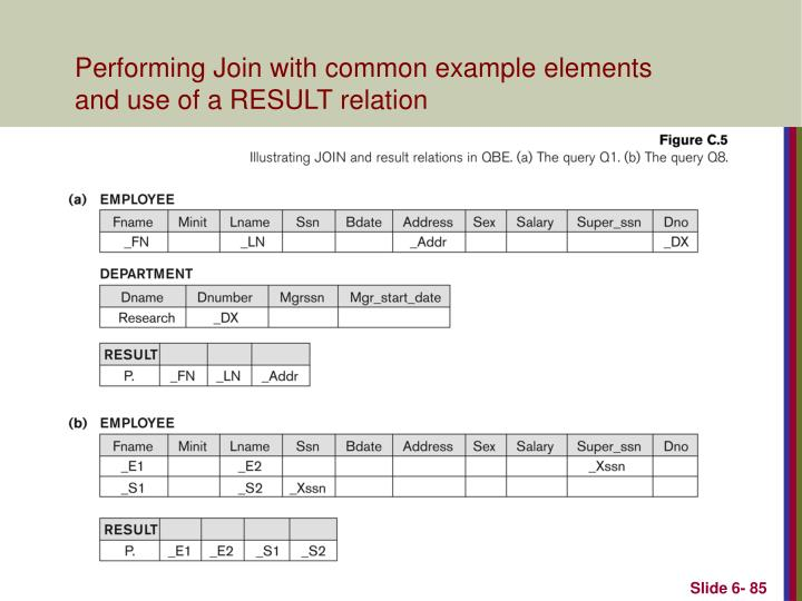 Performing Join with common example elements and use of a RESULT relation