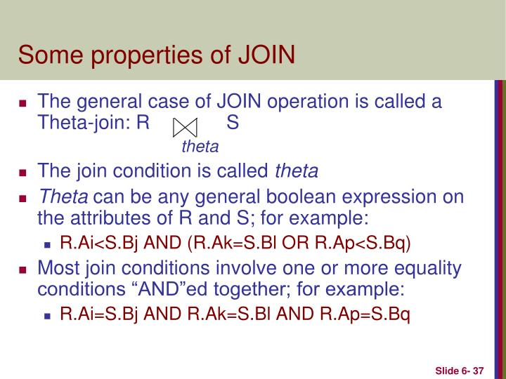 Some properties of JOIN