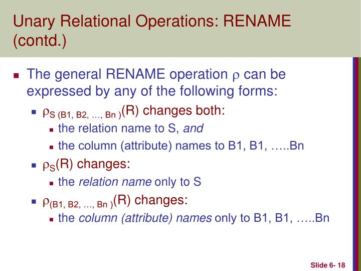 Unary Relational Operations: RENAME (contd.)