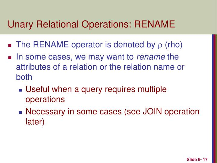 Unary Relational Operations: RENAME