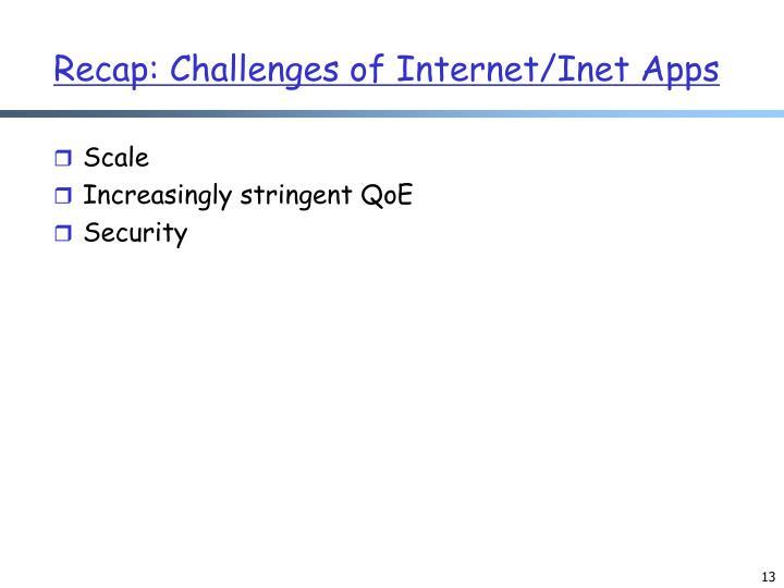 Recap: Challenges of Internet/Inet Apps