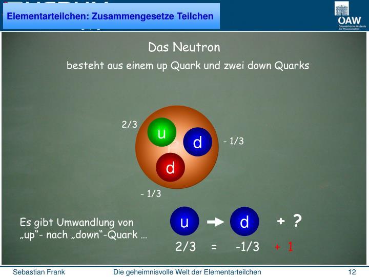 besteht aus einem up Quark und zwei down Quarks