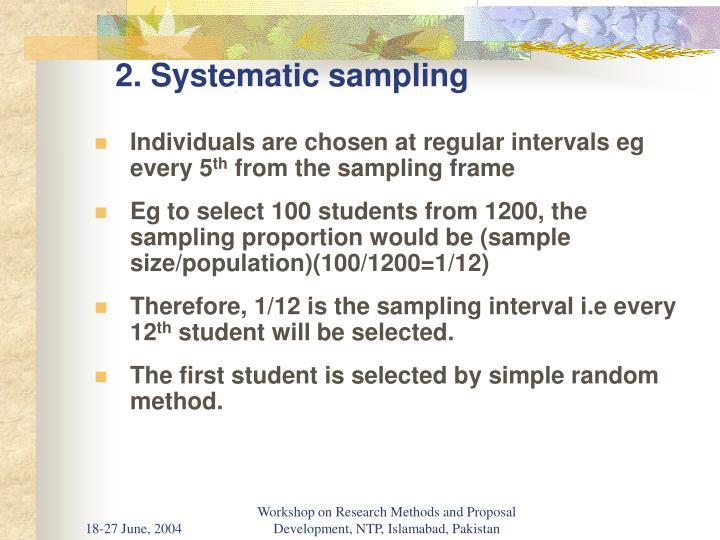 2. Systematic sampling
