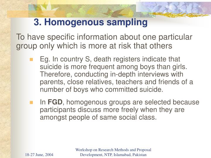 3. Homogenous sampling