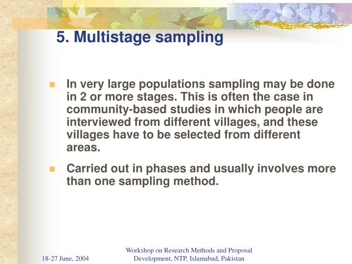 5. Multistage sampling