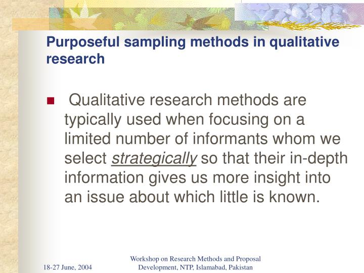 Purposeful sampling methods in qualitative research